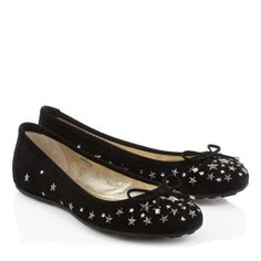 Jimmy Choo - Willow - 365willowusc - Black Suede Ballerinas with Stars and Crystals