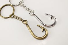 Silver Fish Hook Keychain - Hunter Gifts - Gifts For Him - Country Wedding…