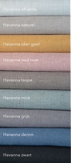 Havanna is een lekker soepele kamerhoge gordijnstof in mooie kleuren. #linnen #kamerhoog #gordijnen #vouwgordijnen #geel #denim #roze #zwart