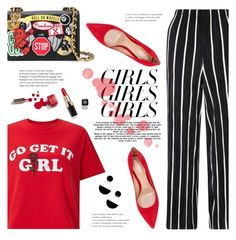 """Loud and Proud: Girl Pride"" by immacherry ❤ liked on Polyvore featuring Miss Selfridge, Gianvito Rossi, Moschino, Chanel, Marni, Ciaté, womensHistoryMonth, pressforprogress and GirlPride"