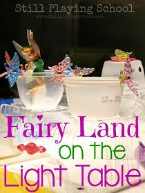 Fairy Land: Building with Recycled Materials on the Light Table from Still Playing School --ohhh this would be soo cool for LO, we cud do a Tinkerbells Pirate Fairy Theme! Science Activities For Kids, Kindergarten Activities, Play Activity, Preschool Curriculum, Light Table, A Table, Sensory Lights, Sensory Boxes, Sensory Play