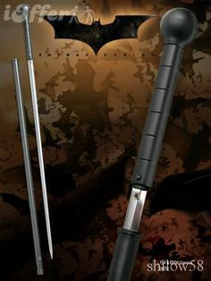 Batman Begins Cane Sword Measures 39 Inches in length. Made of Diecast metal, stainless Steel Blade. Wooden Walking Sticks, Walking Sticks And Canes, Walking Canes, Swords And Daggers, Knives And Swords, Katana Swords, Samurai Swords, Hidden Weapons, Weapons Guns