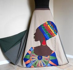 La Nubienne  Long Handmade Appliqued skirt One by BarefootModiste, $167.00