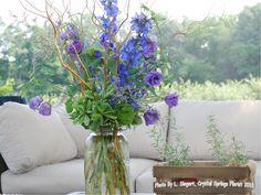 Wedding Arrangements - Gallon Mason jar - Delphinium, purple lisanthus, curly willow, green trick dianthus, caspia and pittisporium