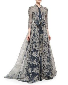 Embroidered Lace Pleated Gown by Carolina Herrera at Neiman Marcus.