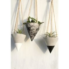 Set of 3/ Hanging concrete planter Concrete planters Hanging Cone... ($29) ❤ liked on Polyvore featuring home, outdoors, outdoor decor, concrete pots, outdoor pots, outdoor patio decor and outside planters