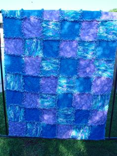 Purple and Blue Water Color Throw Rag Quilt Blanket  by AuntBugs, $107.75