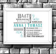 Plakat doskonale sprawdzi się jako prezent ślubny, który wyróżni się wśród kwiatów i kart z gratulacjami. Będzie stanowił wspaniałą pamiątkę dla nowożeńców.  **Plakat jest personalizowany** W...