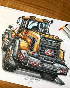 """782 Likes, 22 Comments - 정상현 / sanghyeonJeong(25) (@sanghyeon.jeong1993) on Instagram: """"(Marker rendering)Wheel loader back view. . . . . . . . . #rendering#transportationdesign…"""""""