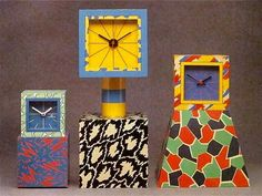 Bright and colorful George Sowden Excelsior American and Pierre Clocks via adamnathanielfurman-artsy, color, design
