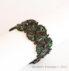 Beaded Bracelet in Black, Green and Copper. $82.00, via Etsy.