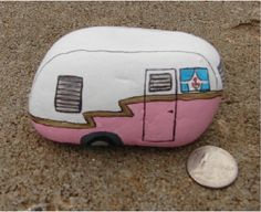 Miniature 1960's travel trailer hand painted rock