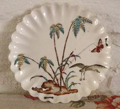 Copeland Pottery Victorian Plate/ 1878/ Palms/Egret/Butterfly. by MerryLegsandTiptoes on Etsy