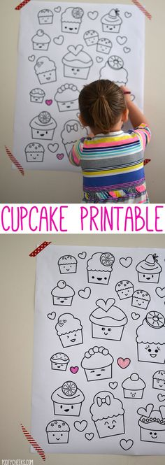 Poofy Cheeks: Printable Kawaii Valentine Cupcake Coloring Poster