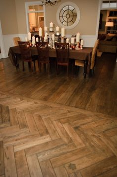 Maybe chevron herringbone wood tile in kitchen transitional flooring? Modern Wood Floors, Wooden Flooring, Hardwood Floors, Plywood Floors, Laminate Flooring, Living Room Flooring, Kitchen Flooring, Parquet Chevrons, Wood Floor Design