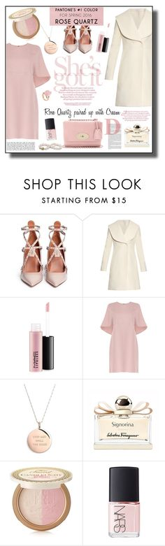 """Valentino Rose Quartz Dress Outfit - Pantone Color 2016"" by helenehrenhofer ❤ liked on Polyvore featuring Valentino, J.W. Anderson, MAC Cosmetics, Kate Spade, Salvatore Ferragamo, Too Faced Cosmetics and NARS Cosmetics"