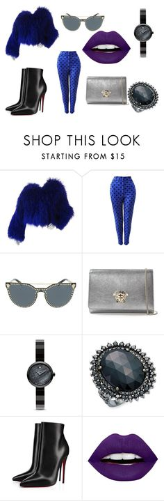 """Cookie Monster"" by arjutoonline on Polyvore featuring Versace, Movado, Bavna, Christian Louboutin and LunatiCK Cosmetic Labs"