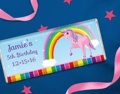 Rainbow Pony Birthday Party Idea: Decorate your tables, goodie bags or candy buffet with rainbow themed birthday party chocolate favors