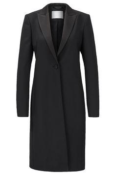 Tuxedo-style coat in Italian virgin-wool twill - Black Formal Coats from BOSS for Women in the official HUGO BOSS Online Store free shipping Formal Coat, Cropped Trousers, Slim Legs, Hugo Boss, Tuxedo, Stretch Fabric, Women Wear, Feminine, Lapels