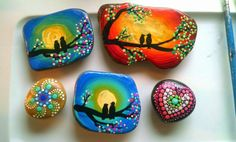 Hand Painted Love Birds on a Tree Branch Beach Stone Magnet Dot Art Rock ~ Valentine's Day Gift ~ Turquoise  ~ Home Decor by Miranda Pitrone