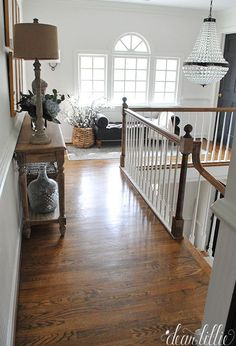 Trendy farmhouse foyer lighting upstairs hallway Ideas - New Ideas Upstairs Landing, Upstairs Loft, Upstairs Hallway, Dark Hallway, Landing Decor, Staircase Landing, Hallway Storage, Foyer Lighting, Lighting Ideas