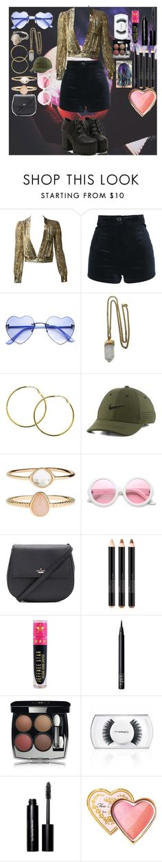 """""""Let's go clubbing"""" by maiandshawn ❤ liked on Polyvore featuring Lacey Ryan, Melissa Odabash, NIKE, Accessorize, ZeroUV, Kate Spade, Smashbox, Jeffree Star, NARS Cosmetics and Chanel"""
