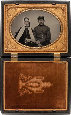 Civil War, Horizontal 1/4 Plate Ruby Ambrotype of Federal Soldier and Wife.