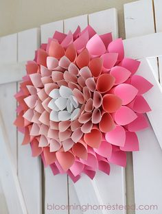 Create a focal point for a hallway or bare wall by using shades of pink cardstock to make this vibrant Paper Dahlia Wreath.