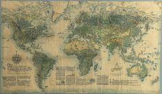 Beautifully aged worldmap from 1947 showing the economic goods of the world