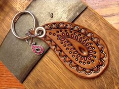 Items similar to Paisley Keychain; Purse Charm on Etsy Paisley Keychain Paisley Leather Keychain by lorisleatherandmetal Leather Stamps, Leather Gifts, Leather Craft, Leather Dye, Leather Tooling, Tooled Leather, Leather Accessories, Leather Jewelry, Paisley