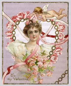 VALENTINE Woman ROSES Love's Captive CUPID Chains by ImageChateau, $2.95