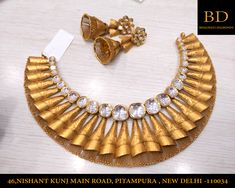 Gold Jewellery Design, Gold Jewelry, Gold Necklace, Indian Wedding Jewelry, Bridal Jewelry, Jewellery Sketches, Jewelry Patterns, Necklace Designs, Diamonds