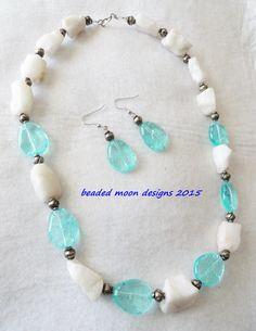 unpolished white quartz & seafoam green cracked glass necklace & earring set ~ https://www.facebook.com/beadedmoondesigns