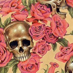 Alexander Henry Resting in Roses Tea Skulls & Roses Fabric 1 yard on Etsy, $9.75