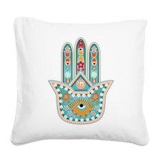 Hamsa Canvas Throw Pillow by MishpochaDesigns on Etsy