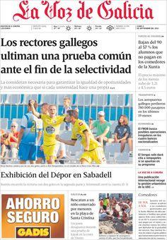 Los Titulares y Portadas de Noticias Destacadas Españolas del 2 de Septiembre de 2013 del Diario La Voz de Galicia ¿Que le pareció esta Portada de este Diario Español?