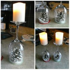We made Christmas candle holders. couple of wine glasses, pine cones, and snow.