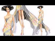 Butterfly ART WORK dress: Fashion Illustration butterfly dress - YouTube
