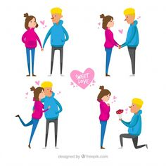 Valentine's day couple collection Free Vector