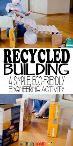 Building STEM Activity Recycled Building: a simple, eco-friendly engineering activity from Busy Toddler!Recycled Building: a simple, eco-friendly engineering activity from Busy Toddler! Earth Day Activities, Steam Activities, Science Activities, Toddler Activities, Recycling Activities For Kids, Science Education, Recycling Projects For Kids, Nutrition Activities, Vocabulary Activities