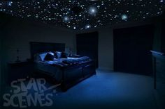 Romantic glow in the dark stars - DIY Star Ceiling for bedrooms.  turn out the lights and sleep under a dreamy wonderland of handmade glow in the dark stars.