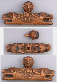 Northwest Coast Soul Catcher  Culture: Haisla     Soul catcher carved from wood in two parts.    Carried by a shaman when he pursued the soul of an ailing patient under his care. usually at twilight. The soul fluttered toward the horizon. With the stopper removed from his magic box, the shaman followed it, beguiling it with incantations. When he succeeded in approaching it, he popped it into the box, replaced the stopper, and returned it to the patient, who then recovered. Native Indian, Native Art, Native American Indians, Ancient Aliens, Ancient Art, Inuit Art, Tlingit, Magic Box, Indigenous Art