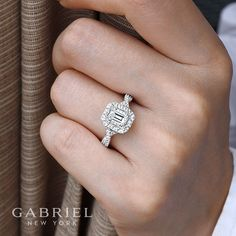 14K White-Rose Gold Double Halo Emerald Cut Complete Diamond Engagement Ring angle