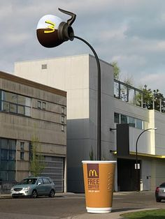 McDonald's Coffee Pole: A creative optical illusion was created using a lamppost in downtown Vancouver, appearing to pour coffee into a giant cup on the sidewalk.