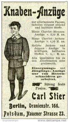 Original-Werbung/ Anzeige 1903 - KNABEN- ANZÜGE CARL STIER BERLIN - Ca. 45 X 90 Mm - Werbung