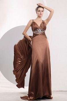 Straps Elegant Brown Celebrity Gowns - Order Link: http://www.theweddingdresses.com/straps-elegant-brown-celebrity-gowns-twdn2037.html - Embellishments: Beading , Crystal , Ruched; Length: Floor Length; Fabric: Satin; Waist: Natural - Price: 144.46USD