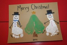 Postal de navidad con las huellas de los pies