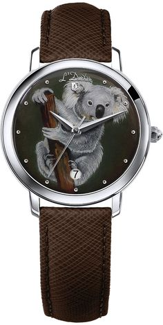 Swiss made quartz watches with one-of-a-kind dial, created in lacquered miniature technique — painting on gold or silver leaf. Koala Collection, stainless steel case, 32 mm, date indication, sapphire crystal, genuine leather strap with folding clasp #swissmadewatches #uniquegift #originalgift #giftwithpersonalisation #koala #giftforher #quartzwatches #handpainted #art Swiss Made Watches, Quartz Watches, Stainless Steel Case, Unique Gifts, Sapphire, Miniatures, Hand Painted, Crystals, Silver