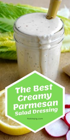 Make your salads stand out with The Best Creamy Parmesan Salad Dressing. This fresh and flavorful dressing is the perfect complement to crunchy greens and other favorite salad fixings. Green Salad Dressing, Salad Dressing Recipes, Creamy Parmesan Salad Dressing Recipe, Salad Dressings, Low Carb Salad Dressing, Best Cocktail Recipes, Best Salad Recipes, Best Dessert Recipes, Delicious Recipes