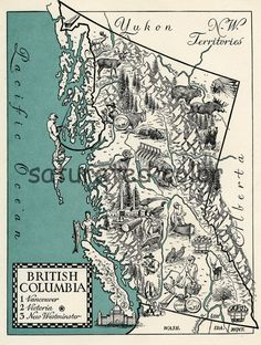 British Columbia Canada Map Art  High Res by SaturatedColor, $5.50
